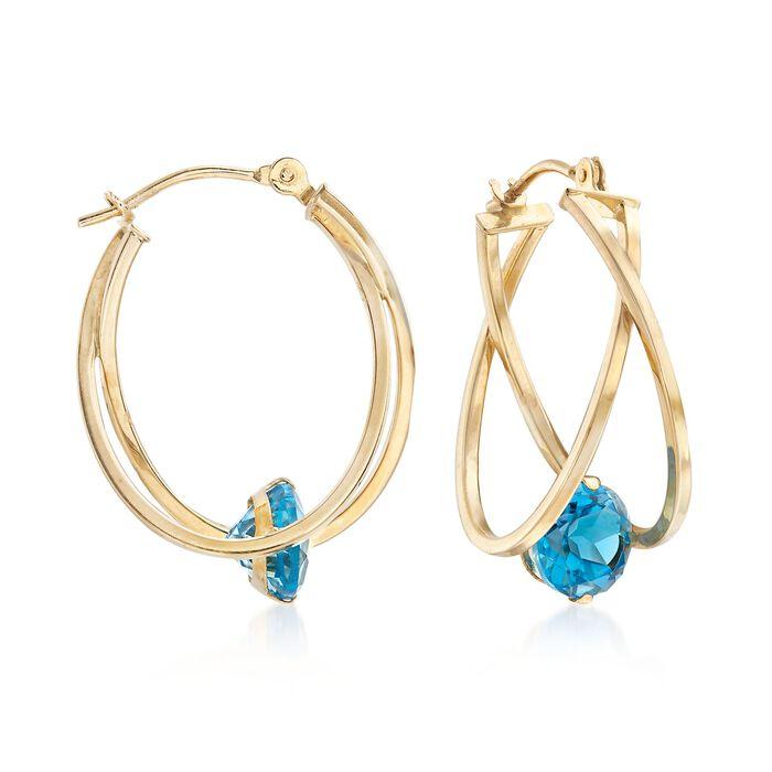"""2.00 ct. t.w. Blue Topaz Crisscross Double Hoop Earrings in 14kt Yellow Gold. 7/8"""", , default"""