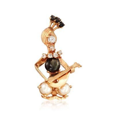 C. 1960 Vintage 3.90 ct. t.w. Star Sapphire and 7mm Cultured Pearl Lute Player Pin with Diamonds in 14kt Gold