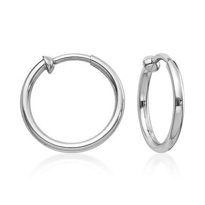 Sterling Silver Small Hoop Clip-On Earrings, , default