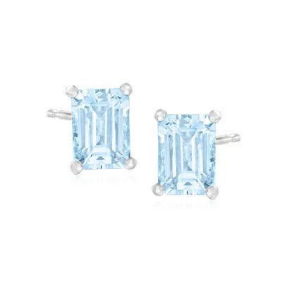 1.50 ct. t.w. Aquamarine Stud Earrings in Sterling Silver
