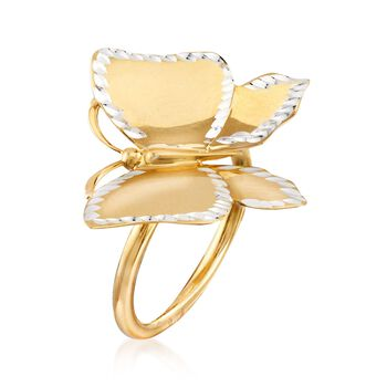 Italian Two-Tone Sterling Silver Butterfly Ring, , default