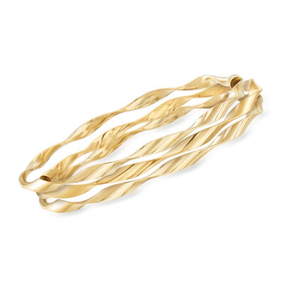 Italian 14kt Yellow Gold Jewelry Set: Three Twisted Bangle Bracelets