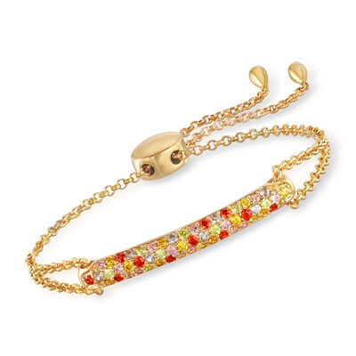 1.30 ct. t.w. Multicolored CZ Bolo Bracelet in 18kt Gold Over Sterling, , default
