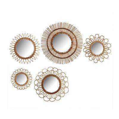 Set of 5 Natural Rattan Wall Mirrors, , default
