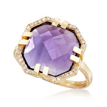 4.40 Carat Amethyst and .11 ct. t.w. Diamond Ring in 14kt Yellow Gold, , default