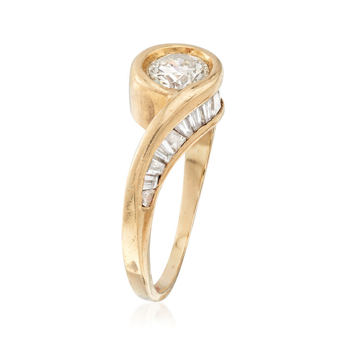 C. 1980 Vintage 1.45 ct. t.w. Diamond Bypass-Style Ring in 14kt Yellow Gold