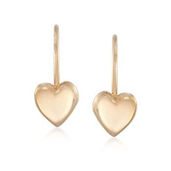 Child's 14kt Yellow Gold Heart Drop Earrings, , default