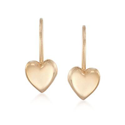 f4a067335 Child's 14kt Yellow Gold Heart Drop Earrings, , default
