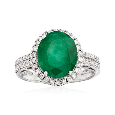 3.80 Carat Emerald and .43 ct. t.w. Diamond Ring in 18kt White Gold, , default