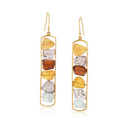 Fire Opal and 31.50 ct. t.w. Multi-Stone Bead Drop Earrings in 18kt Gold Over Sterling, , default