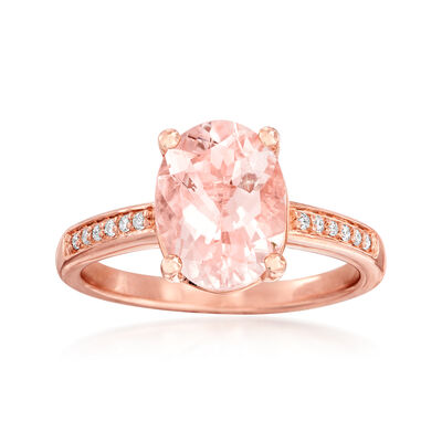 2.00 Carat Morganite Ring with Diamond Accents in 14kt Rose Gold Over Sterling, , default
