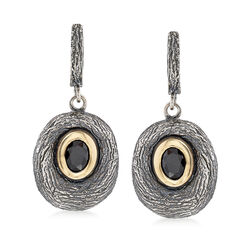 Black Onyx Drop Earrings in Sterling Silver and 14kt Yellow Gold , , default