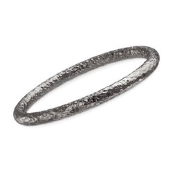 "Italian Sterling Silver Hammered Bangle Bracelet in Black. 7.5"", , default"
