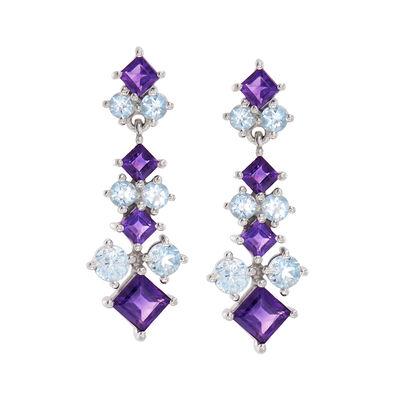 2.40 ct. t.w. Amethyst and 2.10 ct. t.w. Blue Topaz Drop Earrings in Sterling Silver, , default