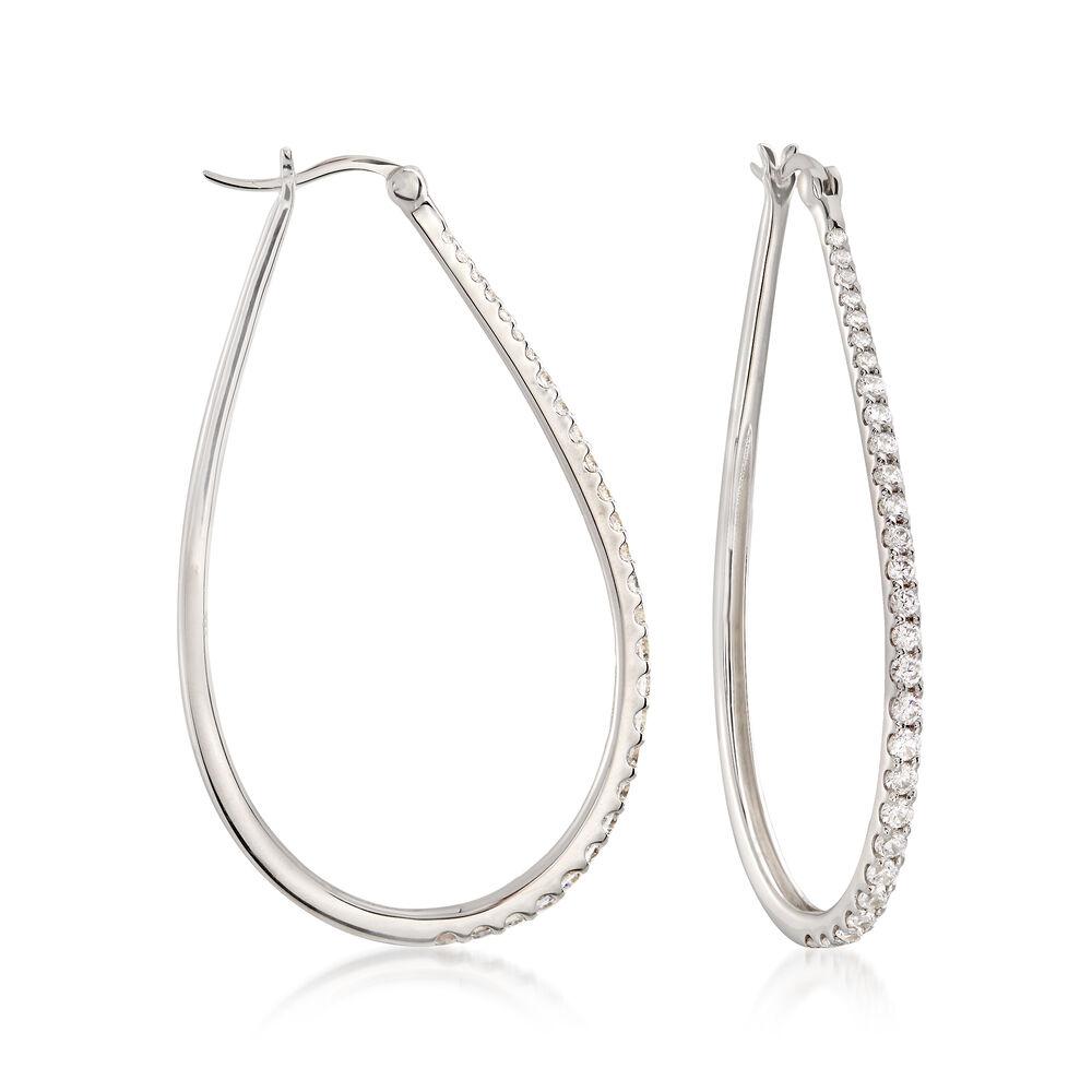 4f63c0a3e005b 1.80 ct. t.w. CZ Graduated Teardrop Hoop Earrings in Sterling Silver. 2 1/8