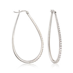"1.80 ct. t.w. CZ Graduated Teardrop Hoop Earrings in Sterling Silver. 2 1/8"", , default"