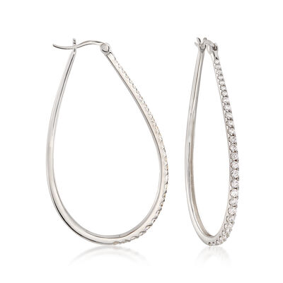 1.80 ct. t.w. CZ Graduated Teardrop Hoop Earrings in Sterling Silver, , default