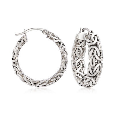 Sterling Silver Small Byzantine Hoop Earrings, , default