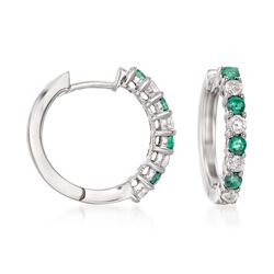 ".40 ct. t.w. Emerald and .35 ct. t.w. Diamond Hoop Earrings in 14kt White Gold. 5/8"", , default"