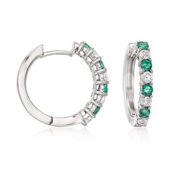 """.40 ct. t.w. Emerald and .35 ct. t.w. Diamond Hoop Earrings in 14kt White Gold. 5/8"""", , default"""