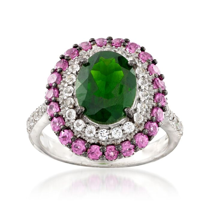 2.50 Carat Chrome Diopside and .90 ct. t.w. Rhodolite Garnet Ring with White Topaz in Sterling Silver