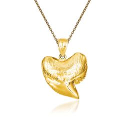 "14kt Yellow Gold Shark Tooth Pendant Necklace. 18"", , default"