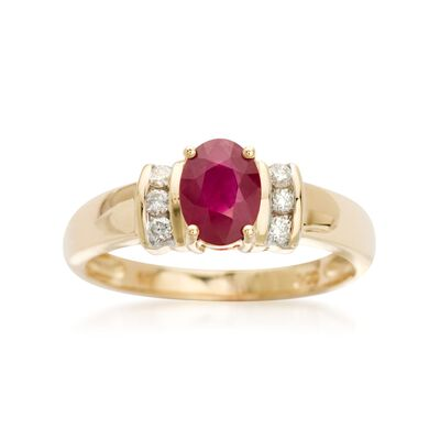 .85 Carat Ruby and .10 ct. t.w. Diamond Ring in 14kt Yellow Gold, , default