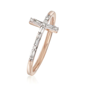 .16 ct. t.w. Diamond Cross Ring in 14kt Rose Gold. Size 6
