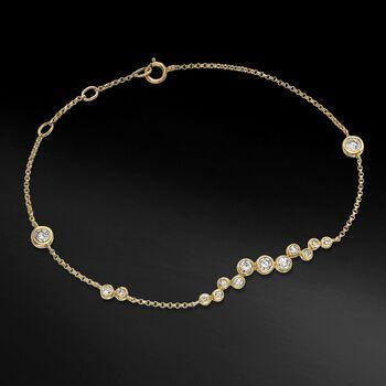 ".61 ct. t.w. Bezel-Set Diamond Cluster Bracelet in 14kt Yellow Gold. 6"", , default"
