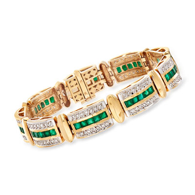 C. 1980 Vintage 6.00 ct. t.w. Emerald and 1.00 ct. t.w. Diamond Bracelet in 14kt Yellow Gold