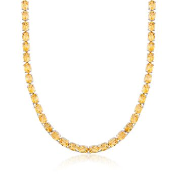 40.00 ct. t.w. Citrine Tennis Necklace in Sterling Silver, , default