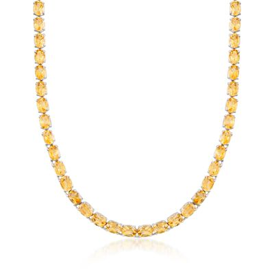 40.00 ct. t.w. Citrine Tennis Necklace in Sterling Silver