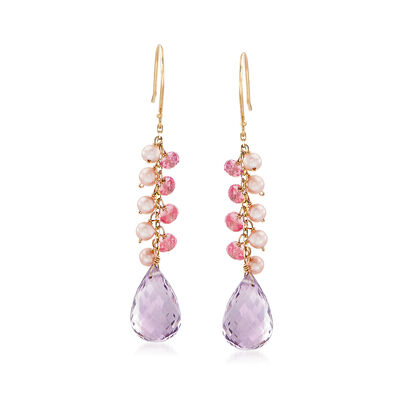 16 ct. t.w. Pink Amethyst with Pink Sapphire and Cultured Pearl Cluster Wire Drop Earrings in 14kt Yellow Gold, , default