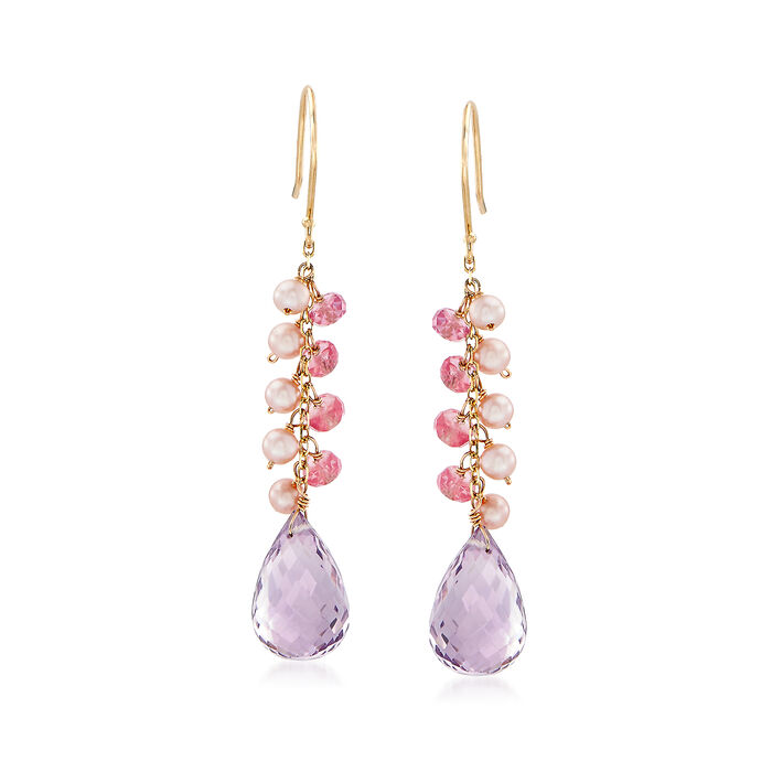 14.00 ct. t.w. Amethyst Drop Earrings with Pink Sapphire and Cultured Pearl Clusters in 14kt Yellow Gold, , default