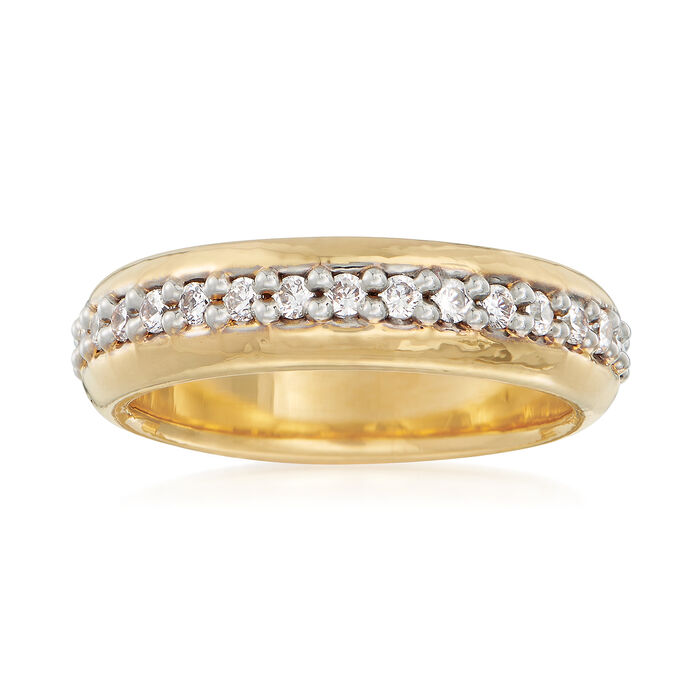 Italian Andiamo .10 ct. t.w. CZ Eternity Ring in 14kt Gold Over Resin