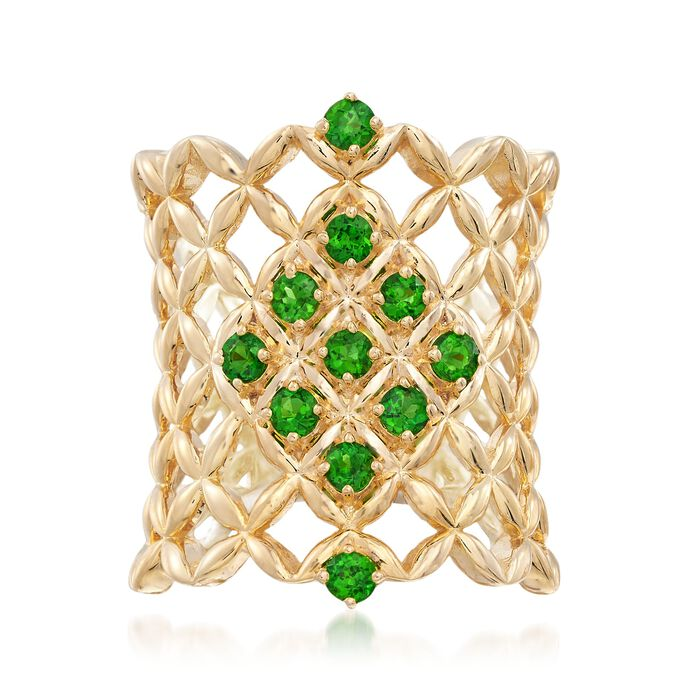 .70 ct. t.w. Chrome Diopside Latticework Ring in 18kt Gold Over Sterling, , default