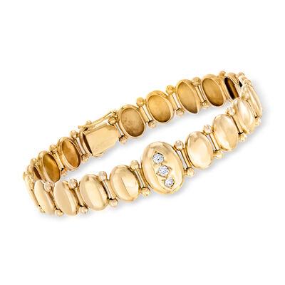 C. 1930 Vintage .25 ct. t.w. Diamond Oval-Link Bracelet in 14kt Yellow Gold