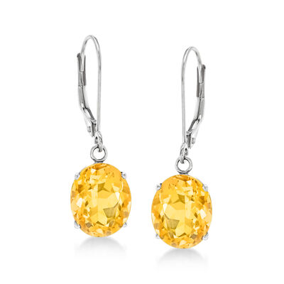 4.80 ct. t.w. Citrine Drop Earrings in 14kt White Gold, , default