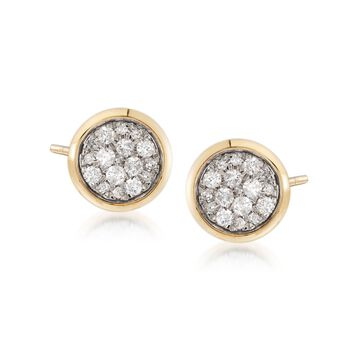 .40 ct. t.w. Pave Diamond Stud Earrings in 14kt Yellow Gold, , default