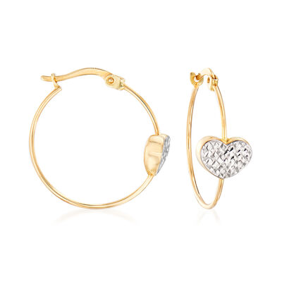 14kt Two-Tone Gold Heart Hoop Earrings