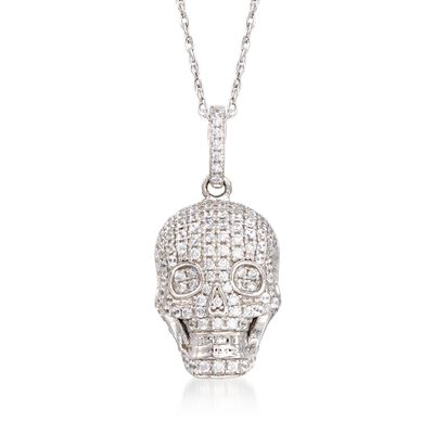 1.00 ct. t.w. CZ Skull Pendant Necklace in Sterling Silver, , default