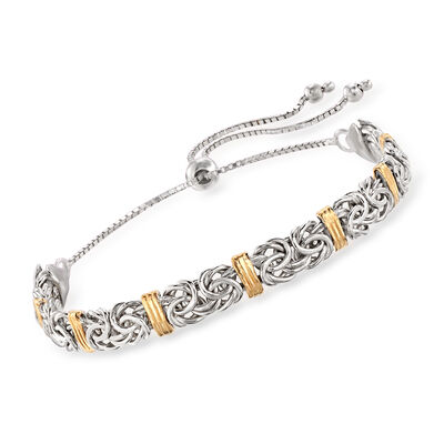 Sterling Silver Byzantine Bolo Bracelet with 14kt Gold Stations