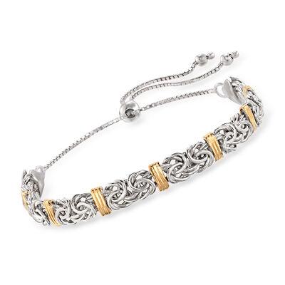 Sterling Silver Byzantine Bolo Bracelet with 14kt Gold Stations, , default