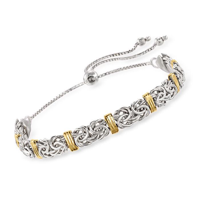 Sterling Silver Byzantine Bolo Bracelet with 14kt Gold Stations