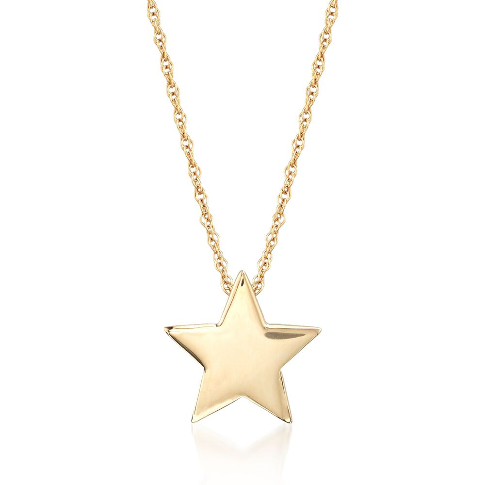 e741b1f68c0fef 14kt Yellow Gold Star Pendant Necklace. 18
