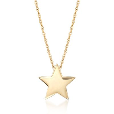 14kt Yellow Gold Star Pendant Necklace , , default