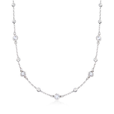Italian 1.10 ct. t.w. Bezel-Set CZ and Sterling Silver Bead Station Necklace, , default