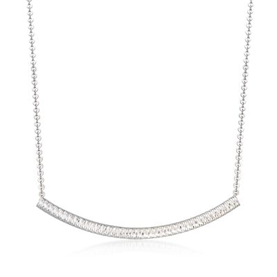 Sterling Silver Curved Tube Necklace, , default