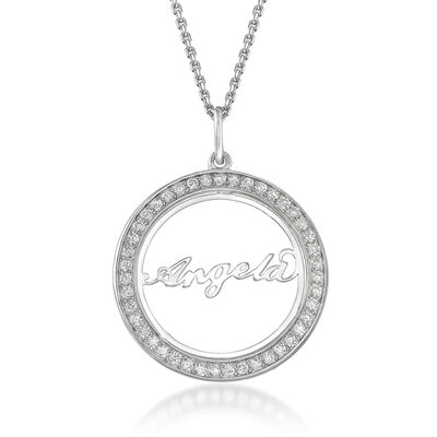 .40 ct. t.w. CZ Personalized Name Pendant in Sterling Silver