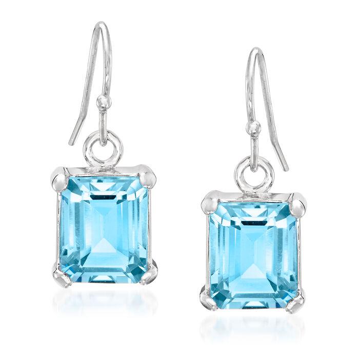 6.50 ct. t.w. Emerald-Cut Sky Blue Topaz Drop Earrings in Sterling Silver